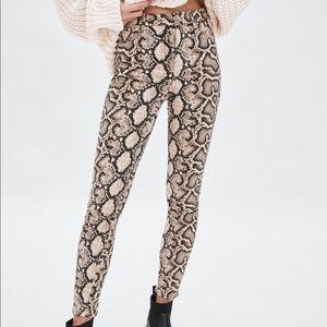 Zara High Rise Snake Print Jeans